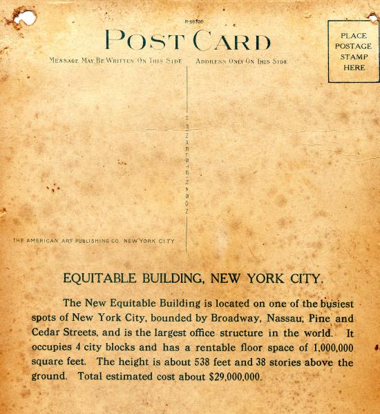 Equitable Building : verso